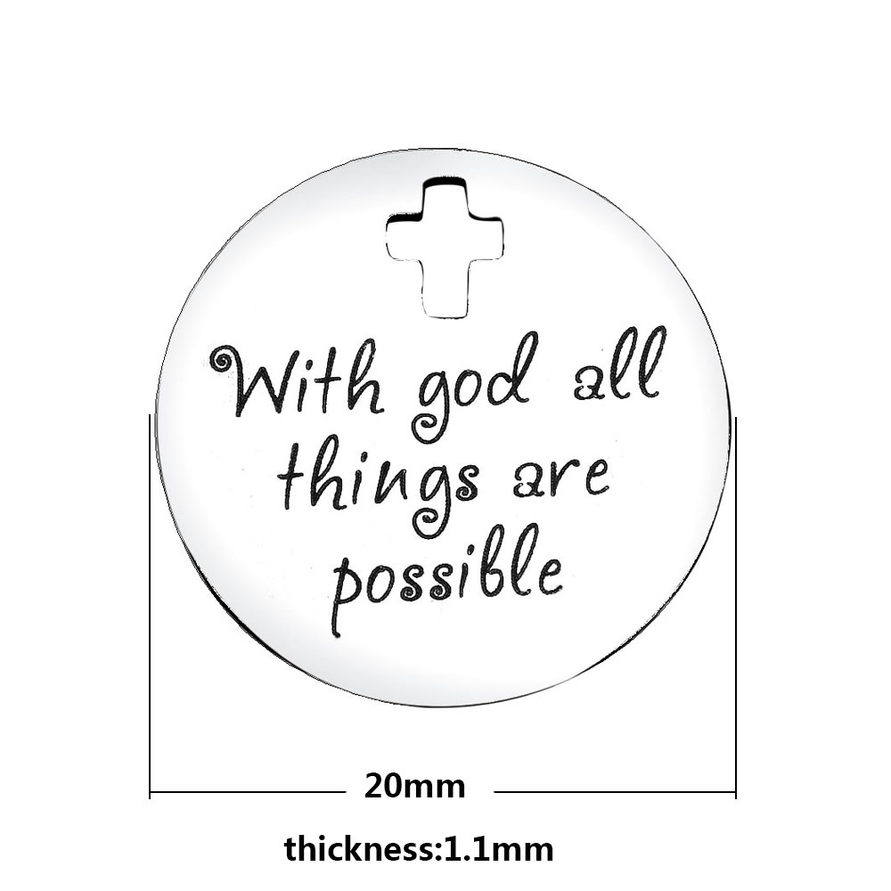 20mm Medium Stainless Steel Charm - With God...