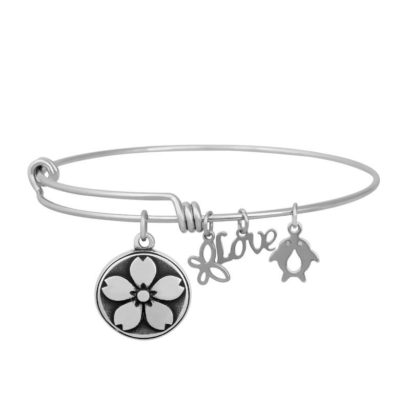 Stainless Expandable Wire Bangle 60mm - Flower Charm