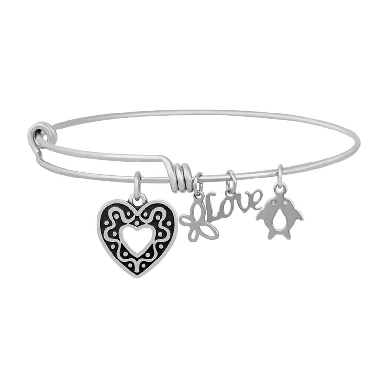 A&A Stainless Bracelet - Open Heart Charm 65mm