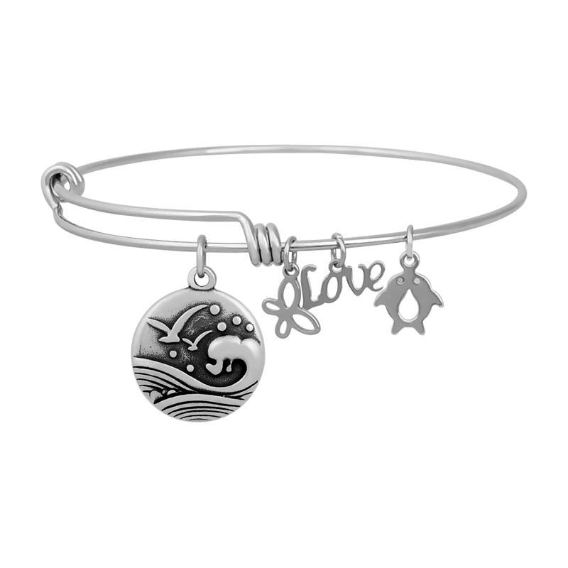 Stainless Expandable Wire Bangle 60mm - Waves & Sea Gull Charm
