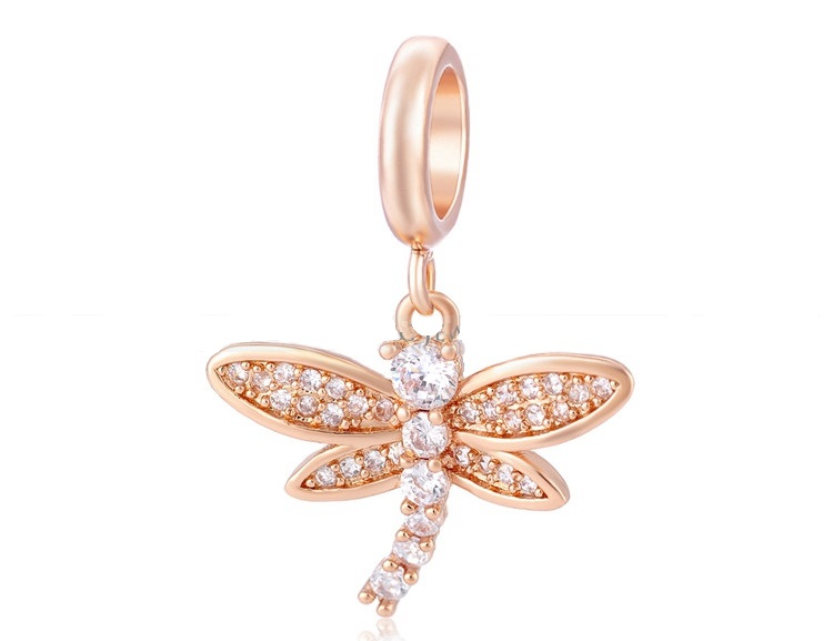 End Less Crystal Charms Drop - Rose Gold Dragonfly Clear