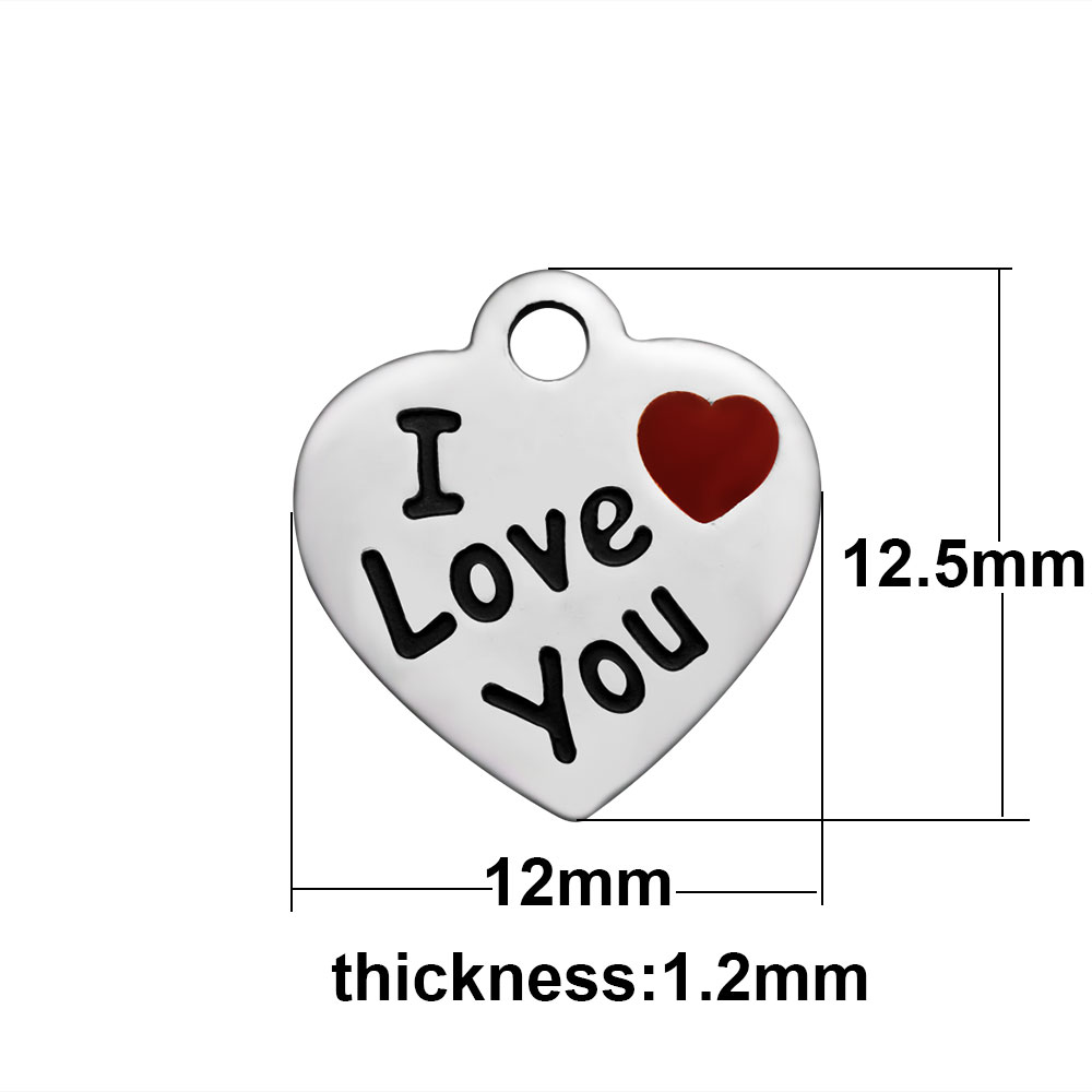 12*12.5mm Small Stainless Steel Charm - I Love You
