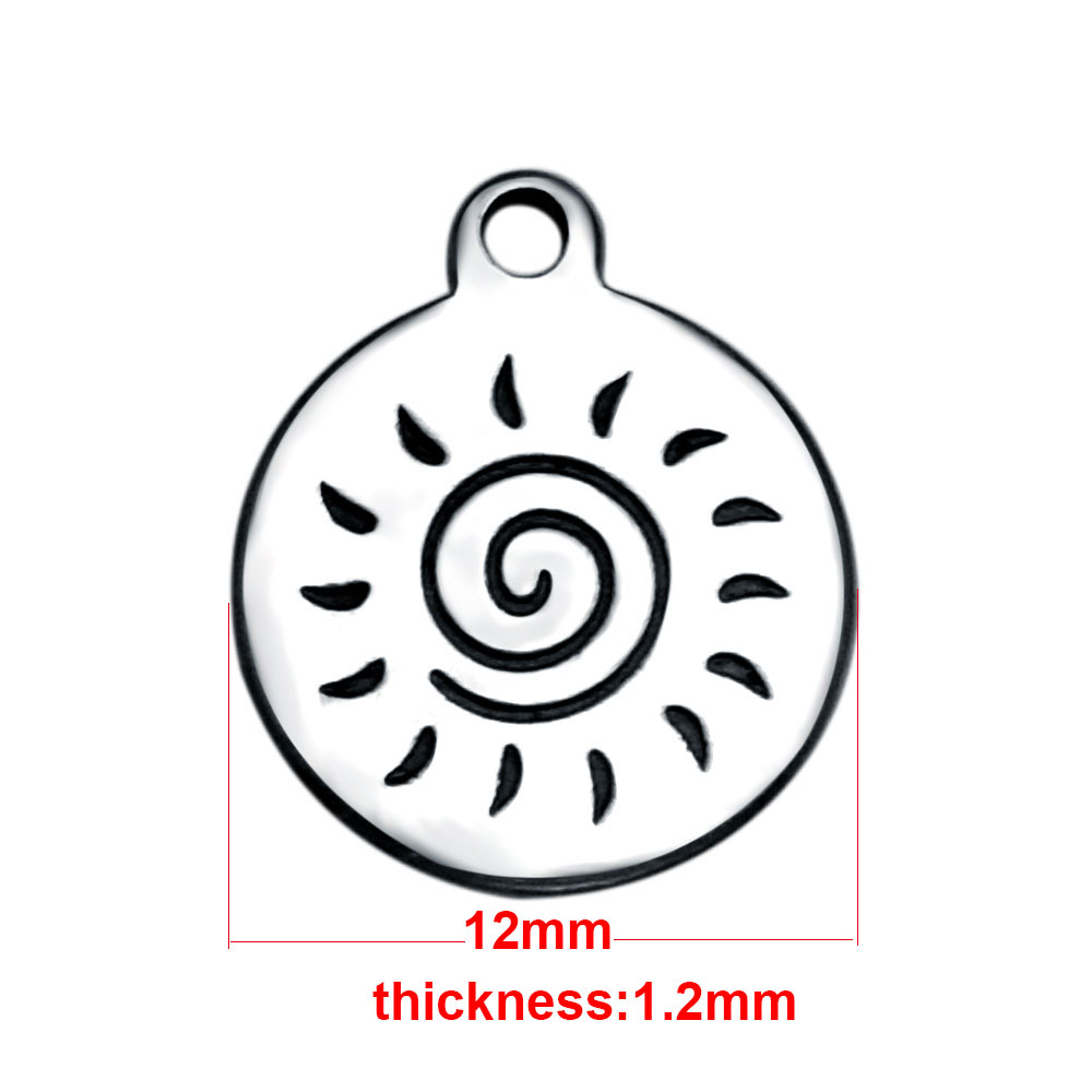 12*14mm Small Stainless Steel Charm - Desert Sun