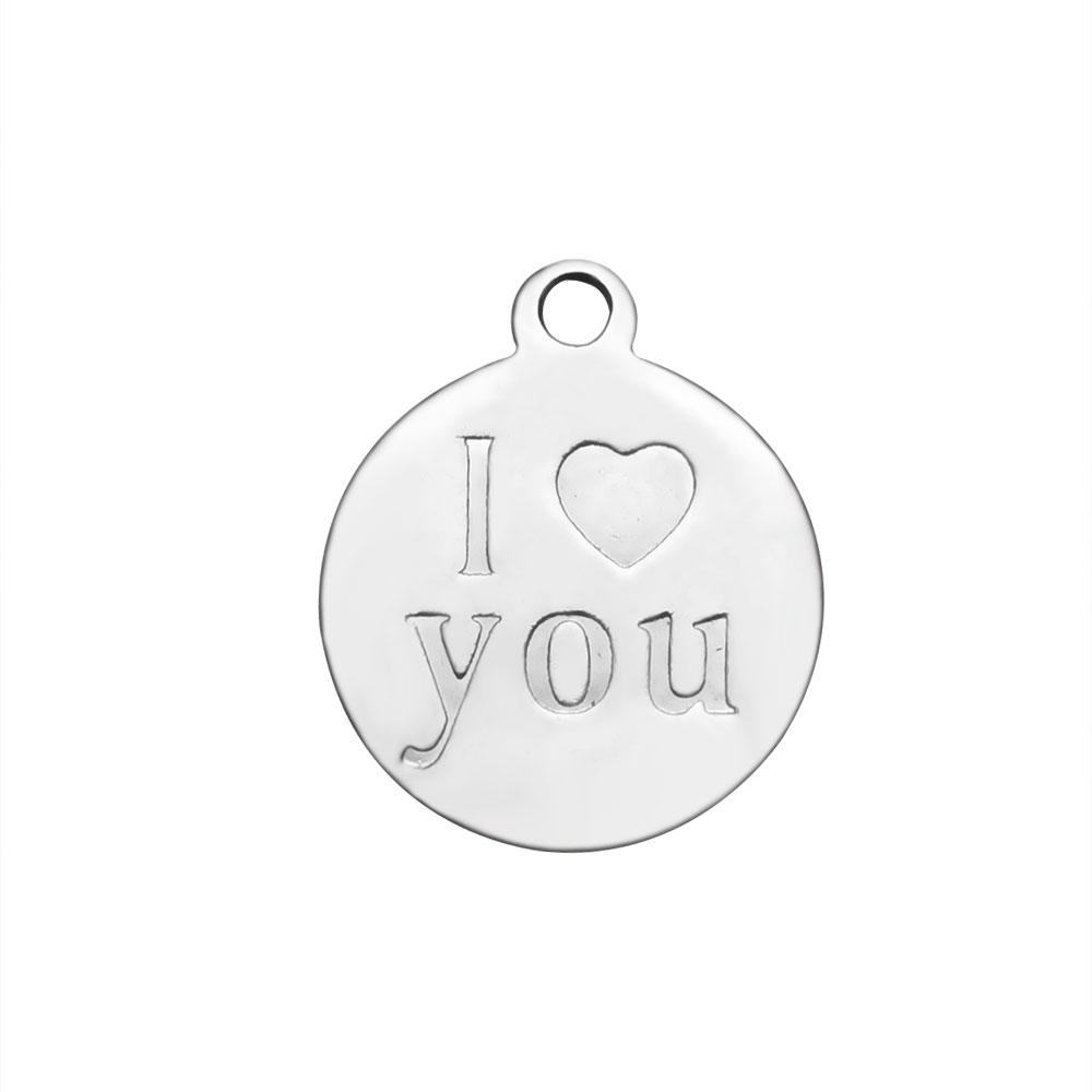 "12*14mm Small Stainless Steel Charm - I ""Heart"" You imprinted"