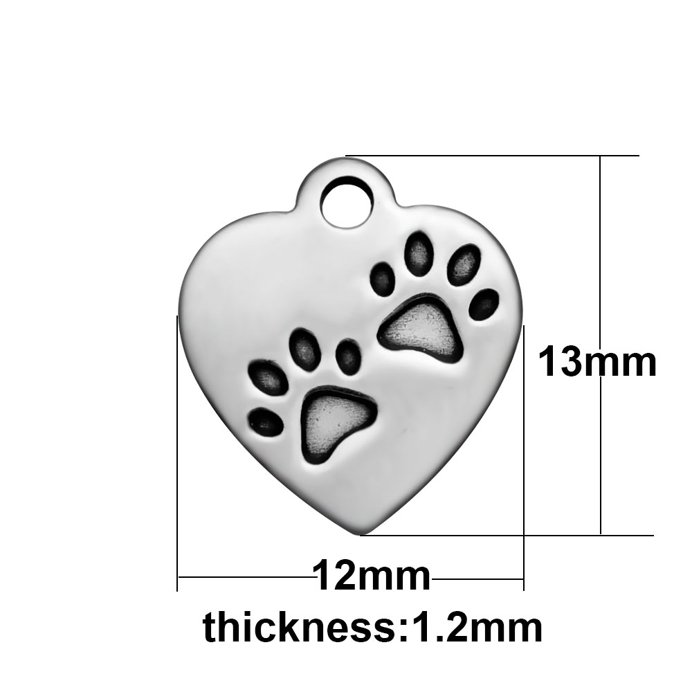 12*13mm Small Stainless Steel Charm - Dog Paws