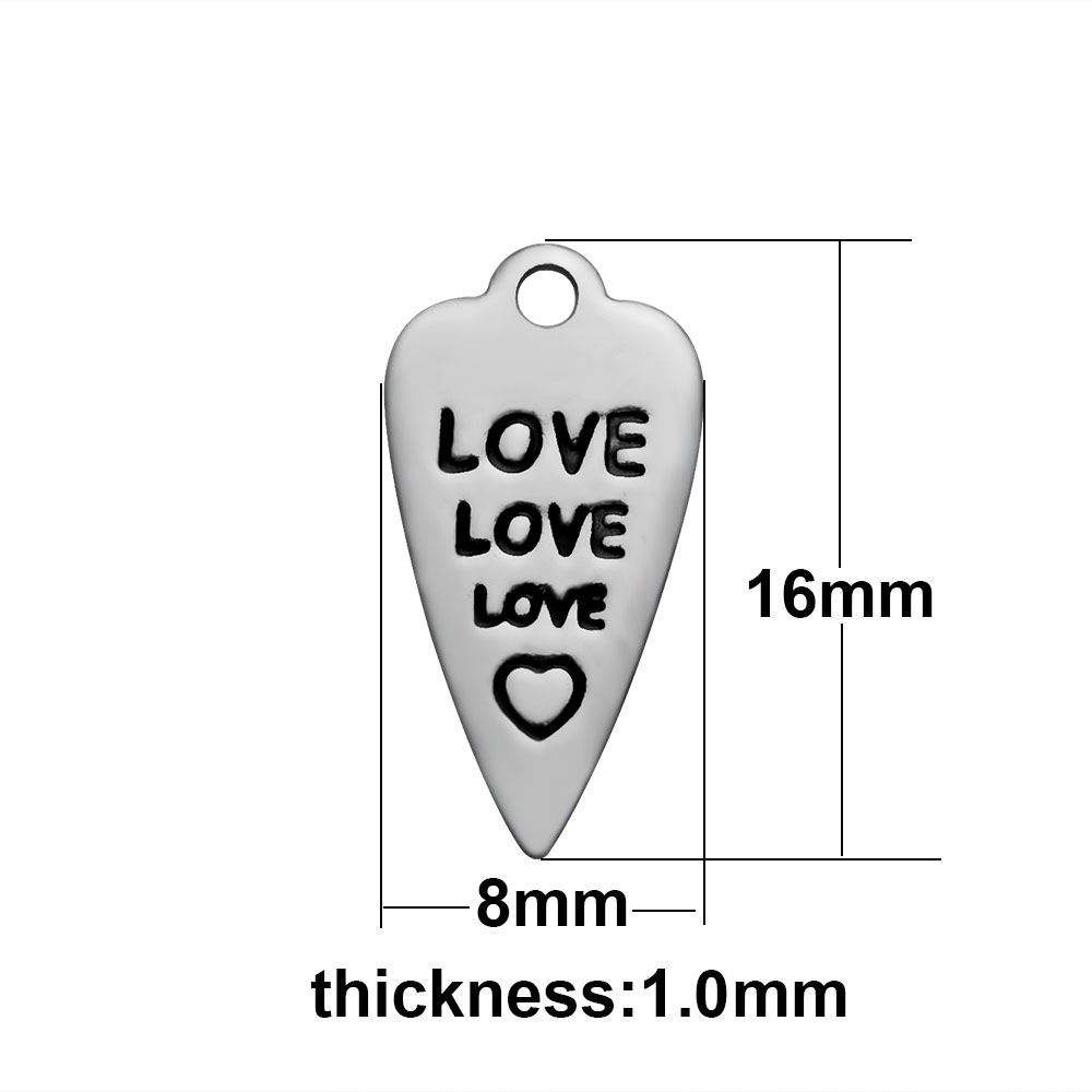 8*16mm Small Stainless Steel Charm - Love Love Love