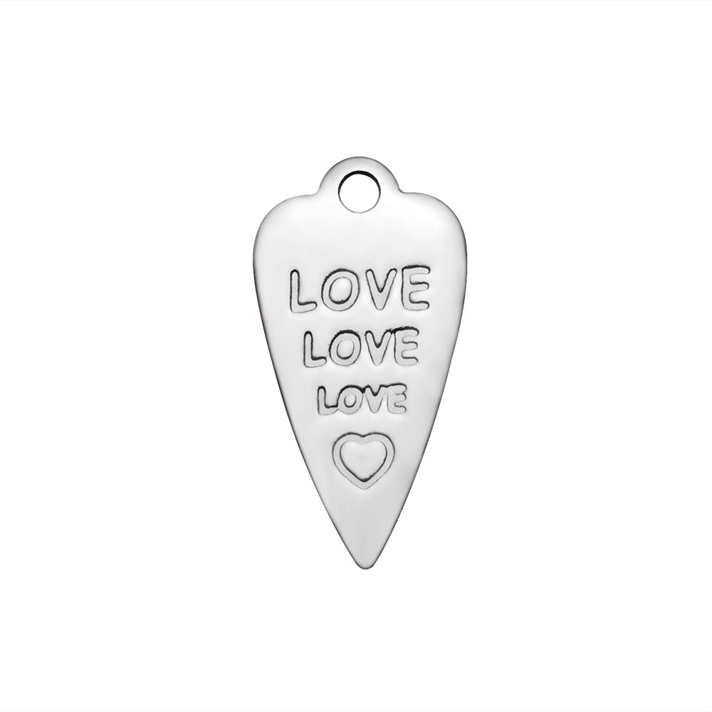 8*16mm Small Stainless Steel Charm - Love Love Love imprinted