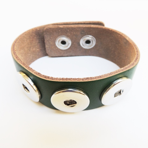 Snap Jewelry Bracelet Wide Leather Green Holiday