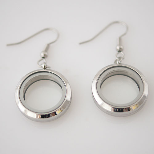 Earring Memory Locket Stainless Steel - 20mm Small Silver