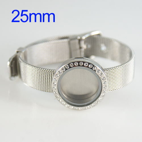 Wrist Band Stainless Steel Memory Locket - 25mm Large