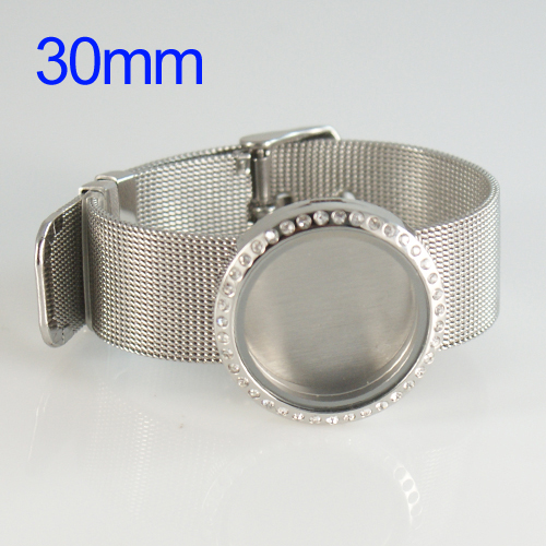 Wrist Band Stainless Steel Memory Locket - 30mm Large