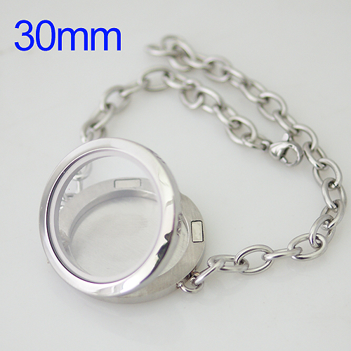 Memory Locket Stainless Lobster Bracelet - 30mm Large