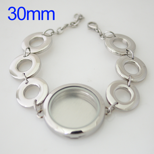 Memory Locket Stainless Lobster Bracelet - 30mm Multi Rings