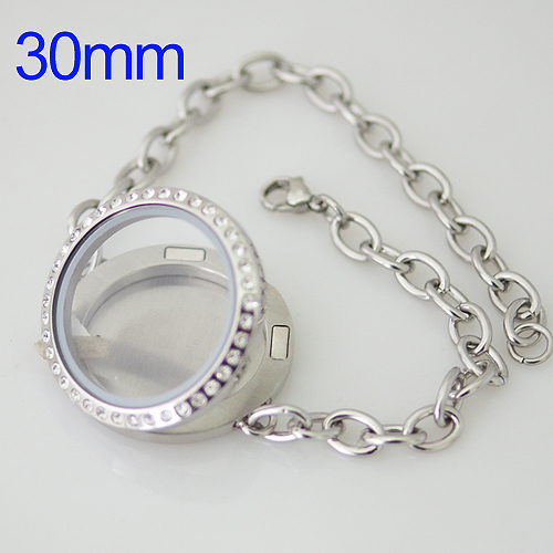 Memory Locket Stainless Lobster Bracelet - CZ Accents 30mm