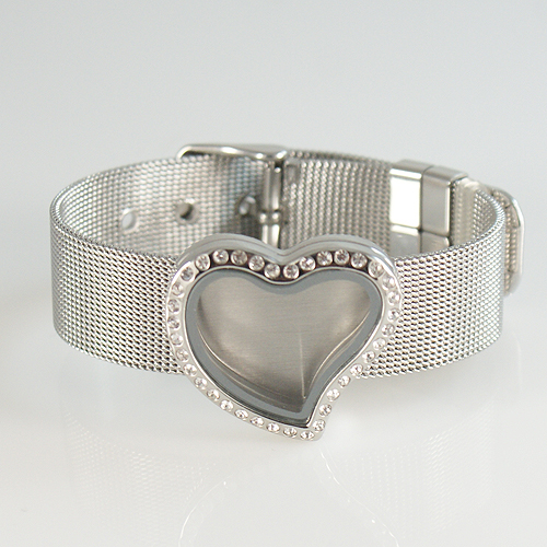 Wrist Band Stainless Steel Memory Locket - Heart and CZ Accents