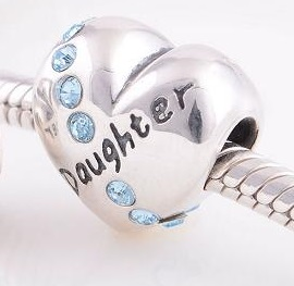 "Charm 925 - Silver Heart ""Daughter"" Love in Light Blue"