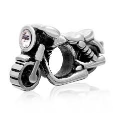 Charm 925 - Silver CZ Motorcycle