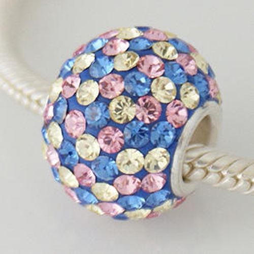 Charm 925 - 7 Row - Giant Crystals - Blue, Pink & Citrine Speck