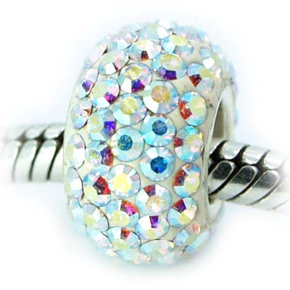 Silver Plated Core Crystal Charm AB