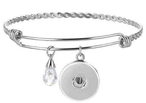 Snap Jewelry Bracelet Alex & Ani Inspired - Silver Stainless