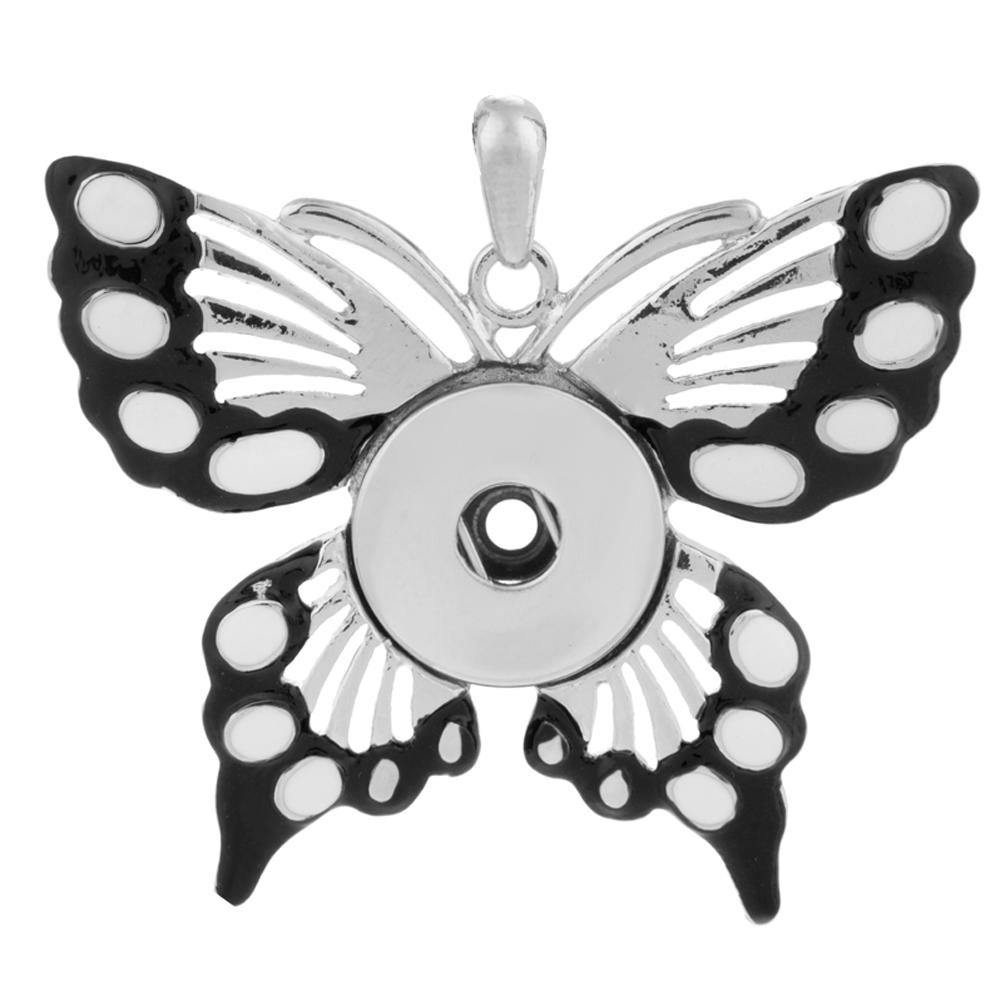 Snap Jewelry Butterfly Enamel Pendant Black & White