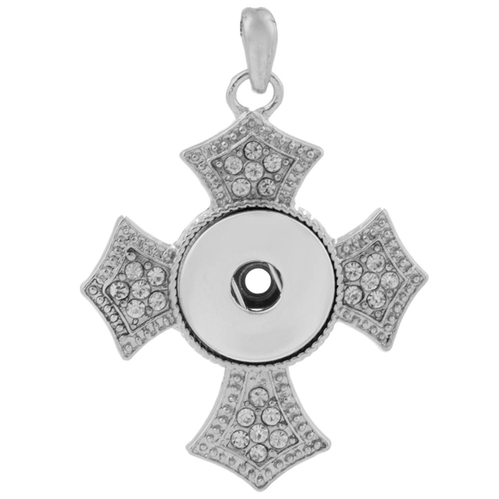 Snap Jewelry Pendant - Rhinestone Scalloped Cross