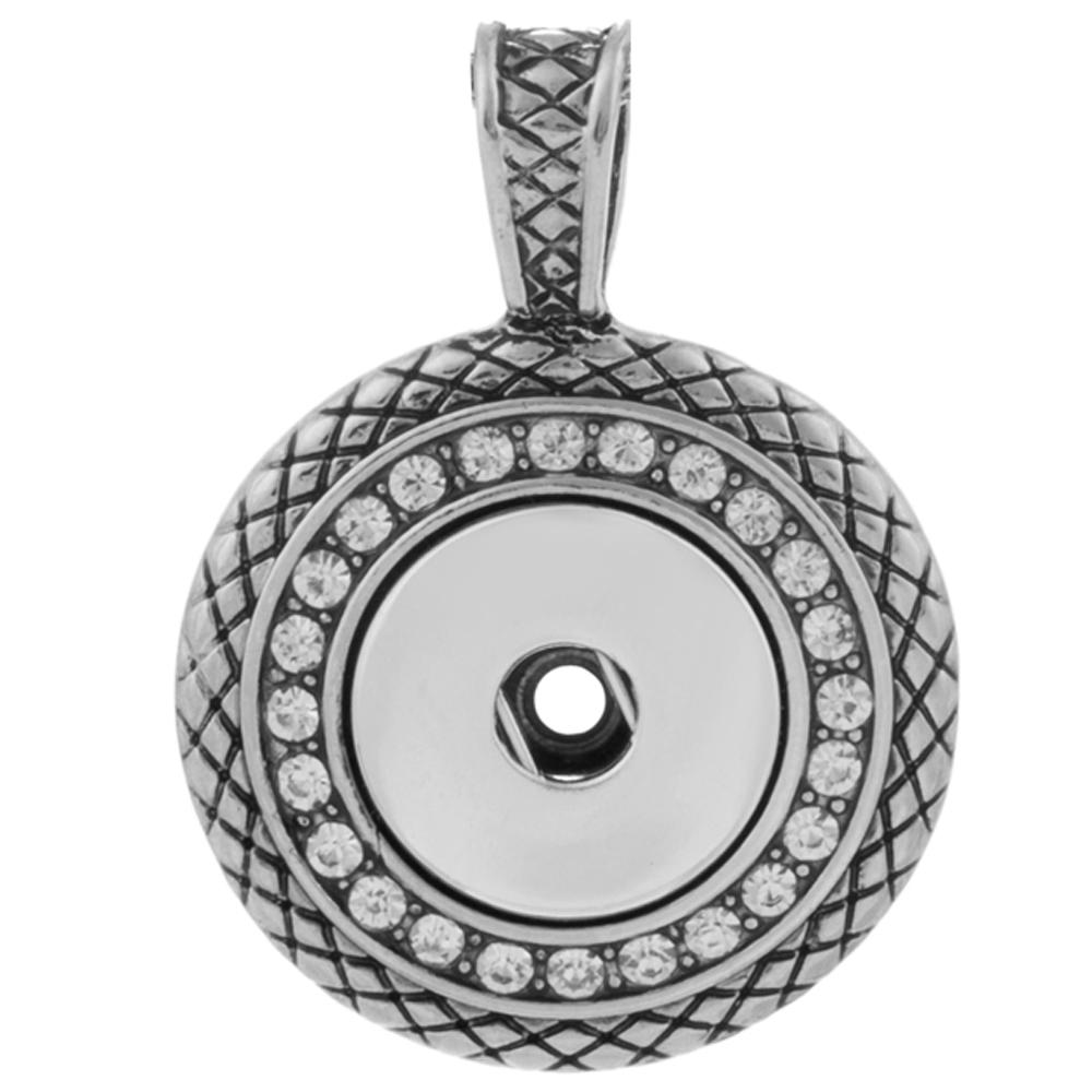 Snap Jewelry Pendant - Checkered Rhinestone