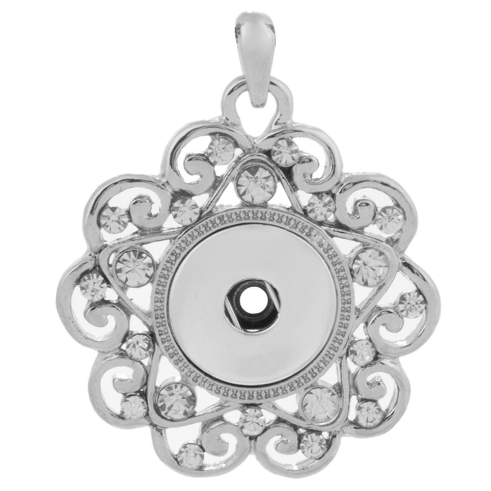 Snap Jewelry Pendant - Rhinestone Scroll Designer