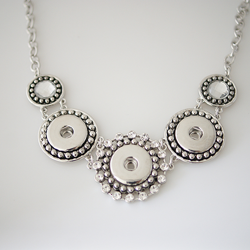 Snap Jewelry Triple Necklace - Clear Rhinestone High Quality