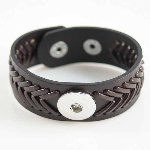 Snap Jewelry Bracelet Wide Leather - Braided Brown