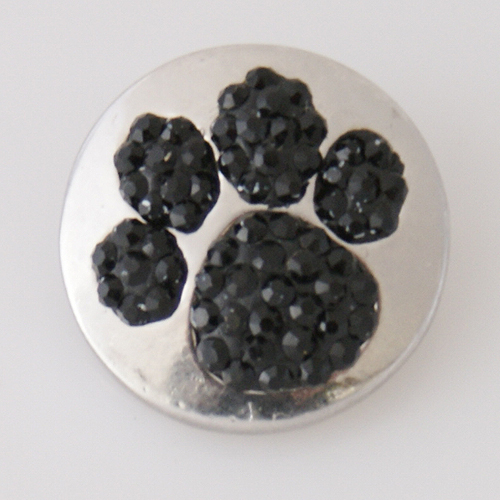 Snap Jewelry Rhinestone - Paw Prints - Black