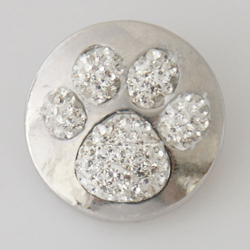 Snap Jewelry Rhinestone - Paw Prints - Clear