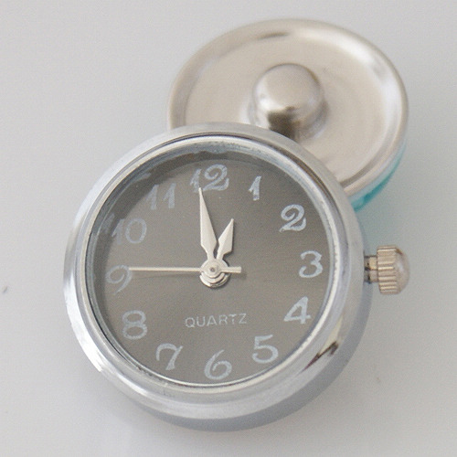Snap Jewelry Watch - Silver & Gun Metal Gray Face
