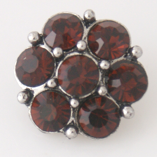 Snap Jewelry Rhinestone - Cluster - Burgundy Red