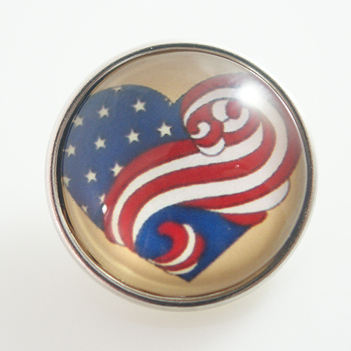 Snap Jewelry Glass - Flag - Heart Shape