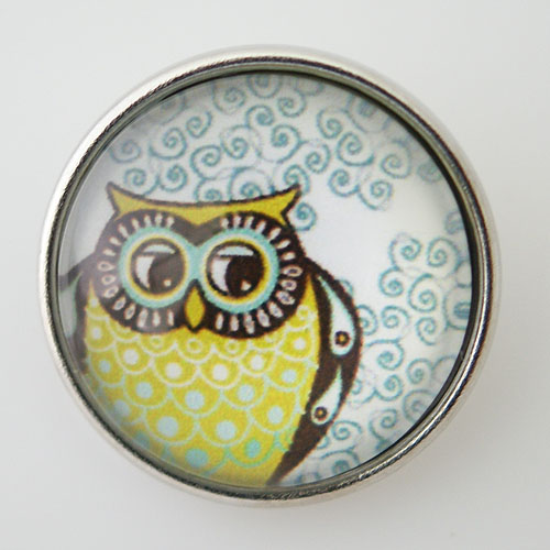 Snap Jewelry Glass - Owl Yellow & Light Blue