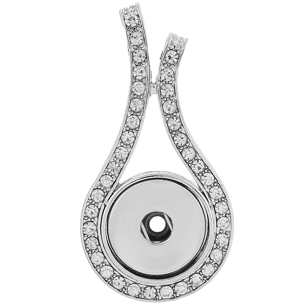 Snap Jewelry Pendant - Rhinestone Open Drop