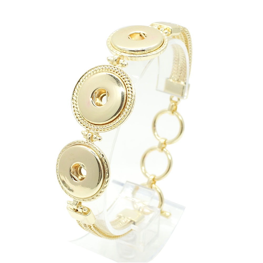 Snap Jewelry Toggle Bracelet Chain Strands - Triple Gold