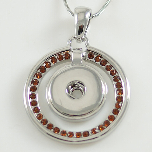 Snap Jewelry Pendant - Rhinestone Halo - Brown