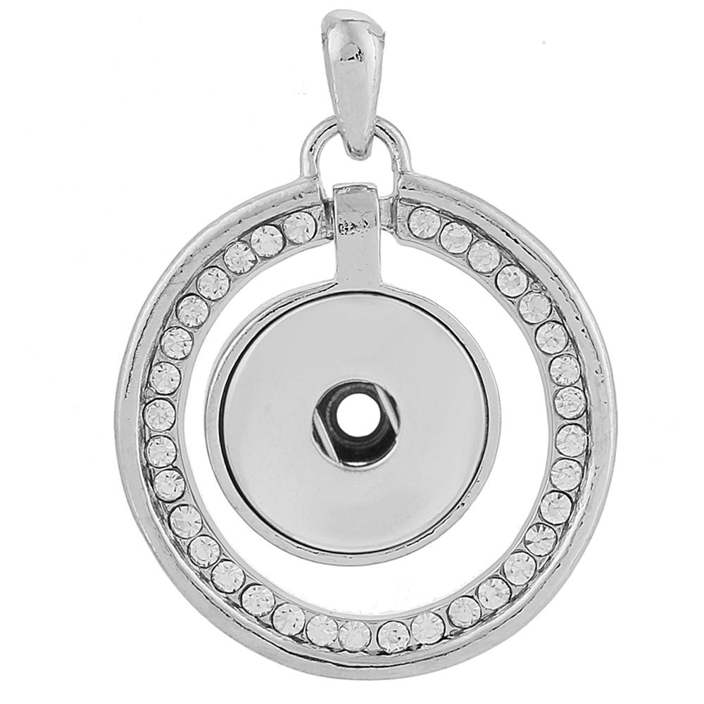 Snap Jewelry Pendant Rhinestone Halo Stone Clear