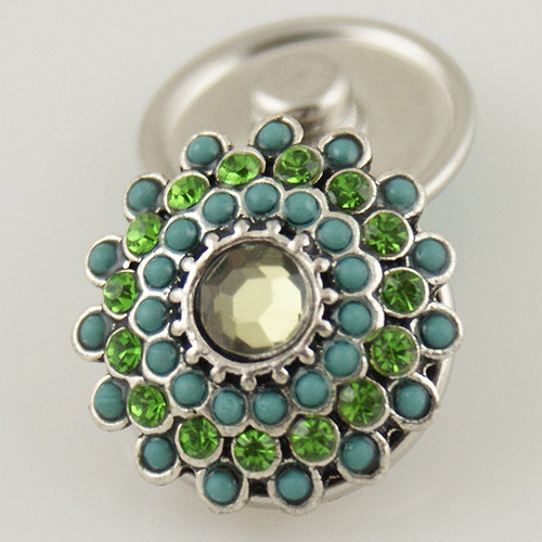 Snap Jewelry Stone - Flower - Stone Blue & Rhinestone Green