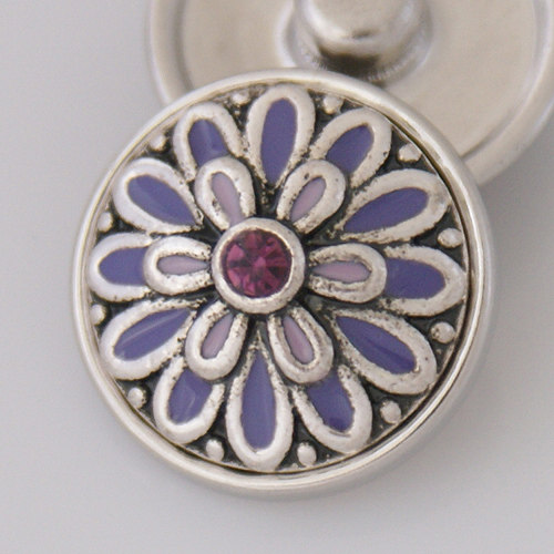 Snap Jewelry Rhinestone - Flower - Blue & Purple