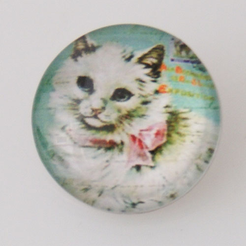 Snap Jewelry Photo - Animal - Cat Flufffy White