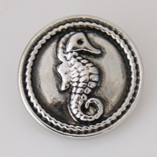 Snap Jewelry Metal - Silver Animal - Sea Horse