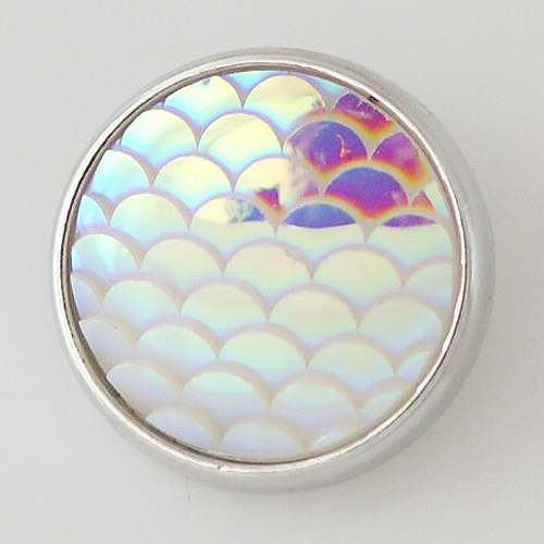 Snap Jewelry Iridescent Design - Scales AB Clear Silver Trim