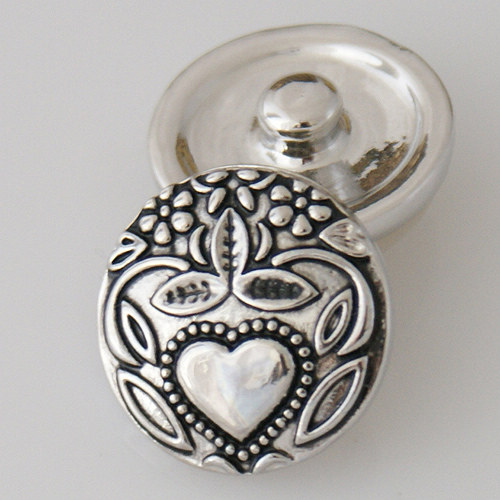 Snap Jewelry Metal - Silver Design - Heart