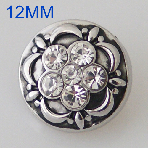 Mini 12mm Snap Jewelry Rhinestone Cluster Clear
