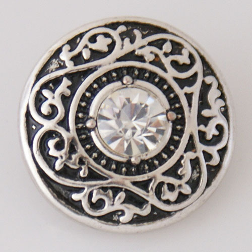 Snap Jewelry Rhinestone - Circle Design - Scroll Clear