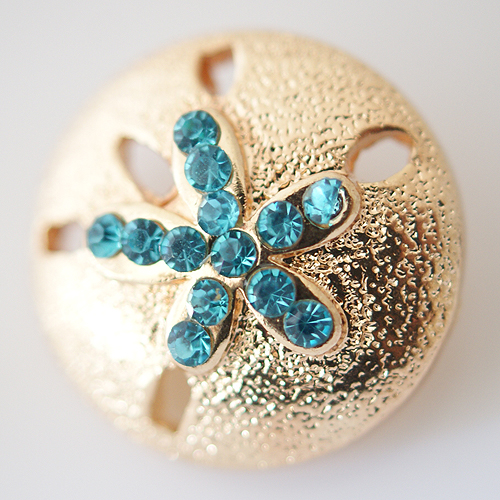 Snap Jewelry Rhinestone - Sand Dollar Gold & Blue
