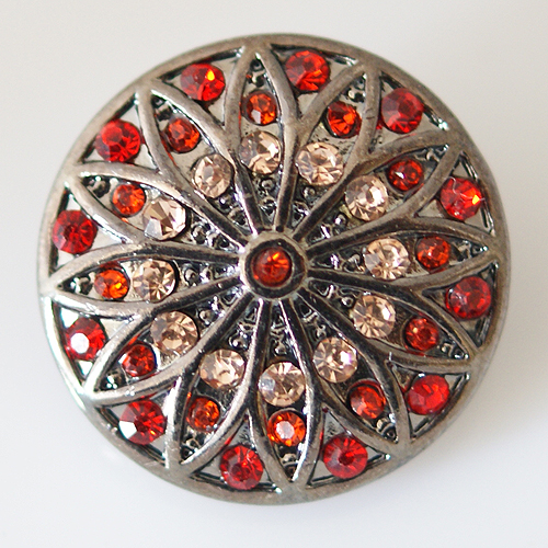 Snap Jewelry Rhinestone - Flower - Red, Orange & Beige